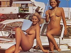Gorgeous vintage naturists celebrate their bodies by taking everything off to show amateur tits and cunts to their friends