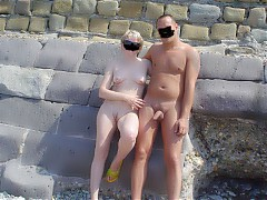 Family nudists at the seaside